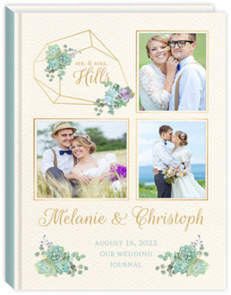 Delicate Succulent Photo Decor Wedding Journal