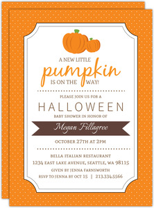 Orange Polka Dot Pumpkin Halloween Baby Shower Invite