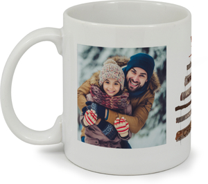 Rustic Wood Tree Christmas Photo Mug
