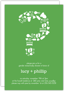 Fun Question Mark Gender Neutral Baby Shower Invite