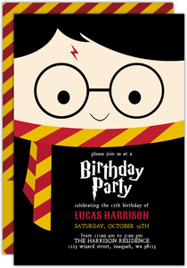 Cute Wizard Birthday Party Printable Invitation