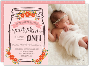 Fall Floral Mason Jar Birthday Printable Invitation