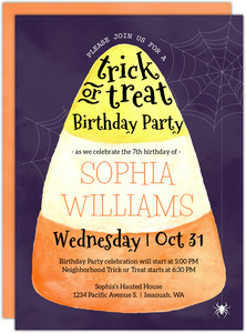 Watercolor Candy Corn Halloween Party Printable Invitation