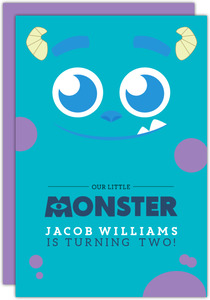 Blue Monster Halloween Birthday Party Printable Invitation