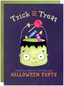 Trick or Treat Watercolor Halloween Birthday Party Printable Invitation
