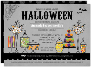 Sweet Candly Station Halloween Birthday Party Printable Invitation