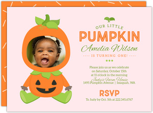 Pumpkin Costume Halloween Birthday Printable Invitation