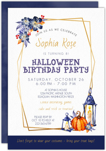 Beautiful Watercolor Halloween Birthday Party Printable Invitation
