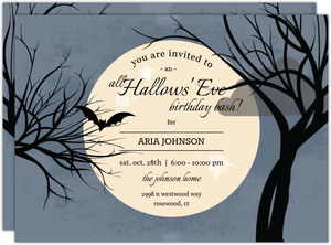 Full Moon Halloween Birthday Printable Invitation