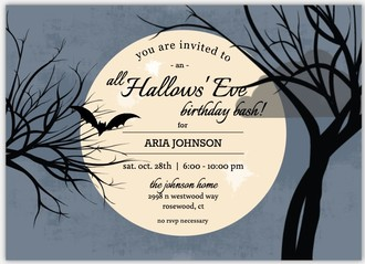 Full Moon Online Halloween Birthday Invitation