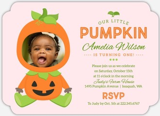 Pumpkin Costume Online Halloween Birthday Invitation
