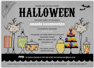 Sweet Candly Station Online Halloween Birthday Party Invitation