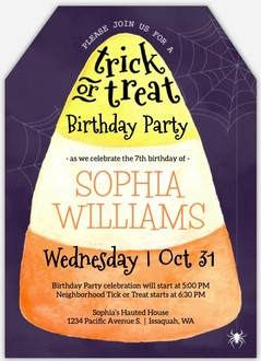 Watercolor Candy Corn Online Halloween Birthday Party Invitation