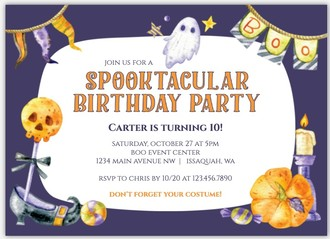 Ghostly Spooktacular Online Halloween Birthday Party Invitation
