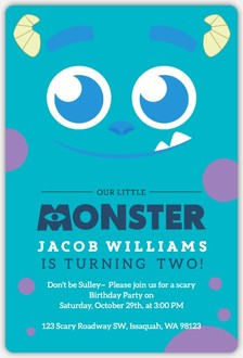 Blue Monster Online Halloween Birthday Party Invitation