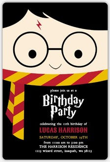 Cute Wizard Online Halloween Birthday Party Invitation