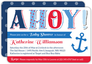 Ahoy Typography Pattern Baby Shower Invitation