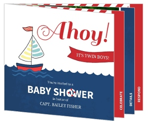 Red And Blue Nautical Ahoy Twin Baby Shower Invitation