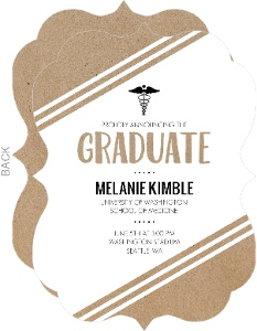 Beautiful Kraft Stripes Medical School Graduation Announcement