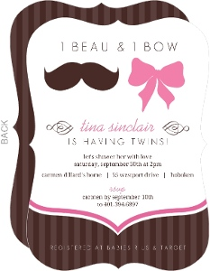 Mustache And Bow Twin Baby Shower Invitation