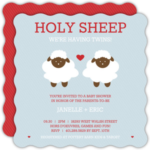 Holy Sheep Blue Red Twins Shower Invite