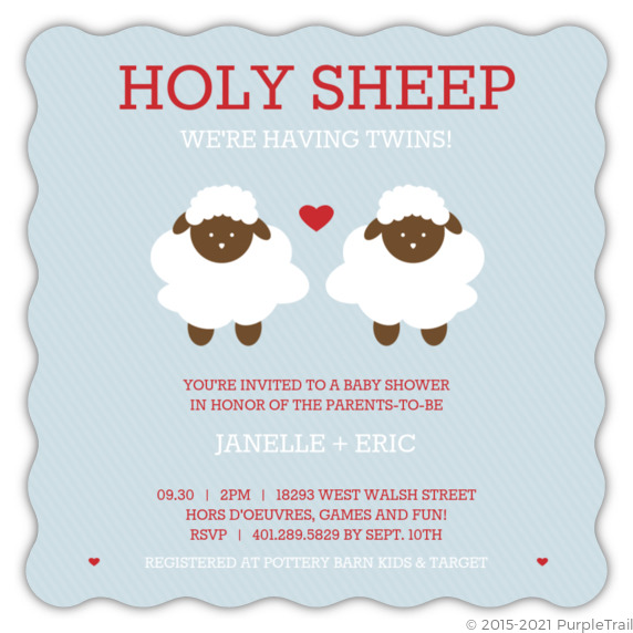 Holy Sheep Blue Red Twins Shower Invite Twins Baby Shower Invitations