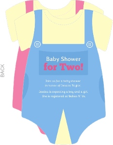 Boy and Girl Outfits Twin Shower Invitations