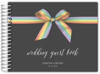 Rainbow Ribbon LGBT Wedding Guest Book