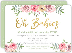 Floral Oh Babies Twins Baby Shower Invitation