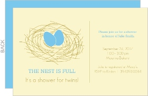 Nest Eggs  Twins Shower Invitation