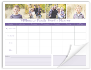 Family Photo Grid Weekly Planner Notepad