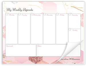 Marble Glitter Hexagon Weekly Planner Notepad