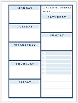 Navy Blocks Weekly Planning Pages