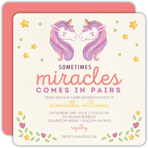 Whimsical Watercolor Unicorn Twin Baby Shower Invitation