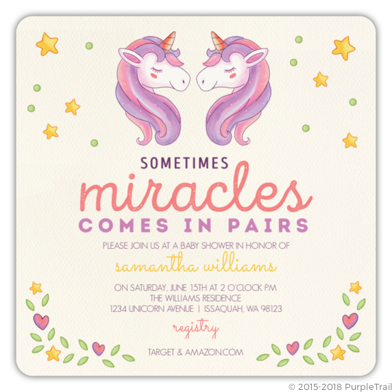 Whimsical Watercolor Unicorn Twin Baby Shower Invitation Twins