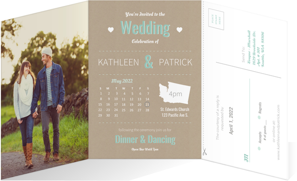 Journey of Love Timeline 5x7 Wedding Invitation