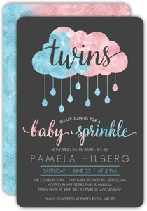 Pink & Blue Cloud Twins Baby Shower Invitation