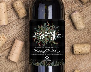 Whimsical Foliage Holiday Wine Label