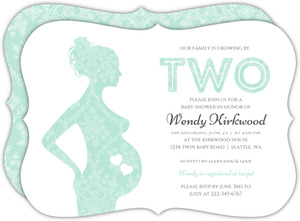 Delicate Lace Twin Baby Shower Invitation