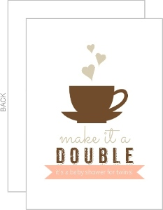 Double Shot Twin Baby Shower Invitation
