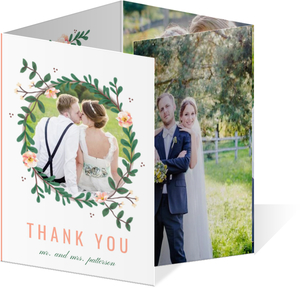 Spring Greenery Florals Quadfold Wedding Thank You Card