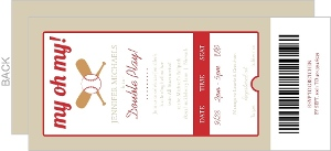 Red Baseball Ticket Double Play Twin Baby Shower Invitation