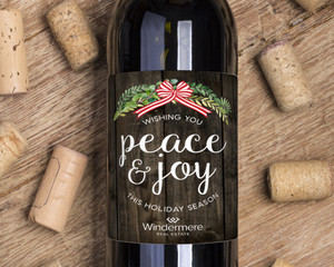 Rustic Green Watercolor Wreath Holiday Wine Label