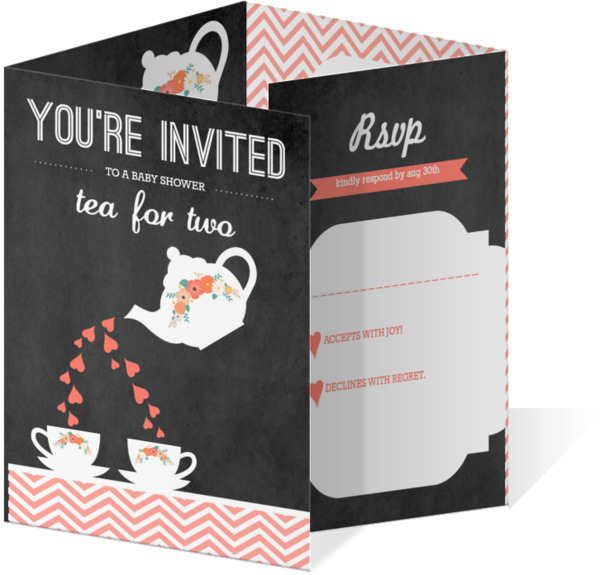 Tea for Two Twins Baby Shower Invitation Twins Baby Shower Invitations