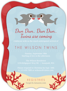 Gray Sharks Twin Baby Shower Invitation