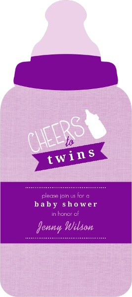 Purple bottles twin baby shower invitation twins baby shower purple bottles twin baby shower invitation filmwisefo