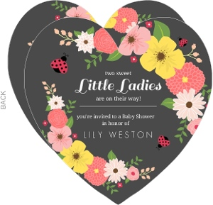 Floral Pink And Black Ladybug Twin Baby Shower Invitation