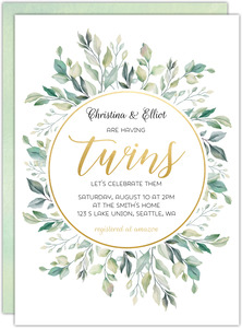 Greenery Circle Frame Twins Baby Shower Invitation