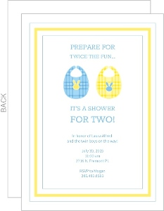 Blue and Yellow Shower for Two  Invite