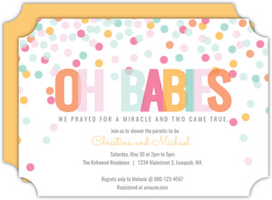 Colorful Confetti Baby Twins Baby Shower Invitation